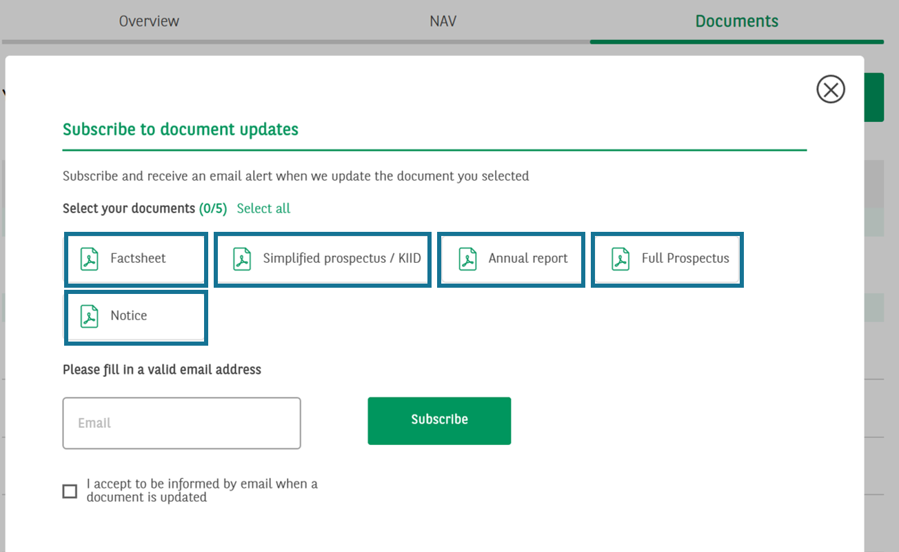 Fund document subscription screen 2
